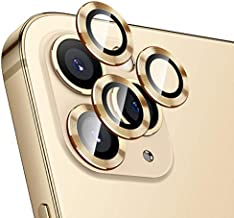 Hoerrye For Iphone 12 Pro Max Camera Lens Protector, Metal Full Cover + Tempered Glass Circle Screen Protection For Iphone 6.7'' Accessories - Gold