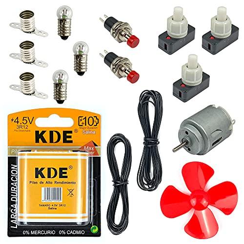 InputMakers Kit Eléctrico Escolar Intermedio: Pila Petaca 4,5 V, 3 Bombillas, 3 Portalámparas, 3 Interruptores, 4 m Cable, 2 Pulsadores, 1 Motor, 1 Hélice. Set Electricidad Instituto y Manualidades.