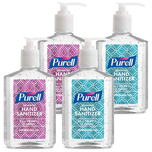 PURELL Advanced Hand Sanitizer Refreshing Gel Metallic Design Series, Clean Scent, 8 fl oz Pump Bottle (Pack of 4) - 9658-06-ECDECO