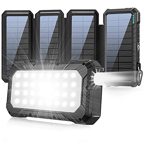 Solar Charger 26800mAh, Outdoor Power Bank 18W QC3.0 Fast Charger with 4 Solar Panels, Camping LED Flashlight, Compass and 3 High-Speed Charging Ports Compatible All USB Device