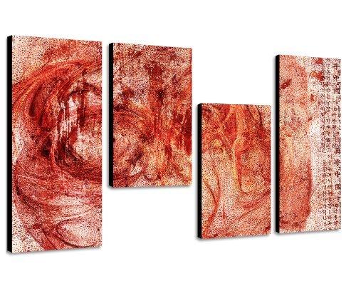 Augenblicke Wandbilder Rotes Bild 130x70cm 4 teiliges Keilrahmenbild Airbrush looked (30x70+30x50+30x50+30x70cm) abstraktes Wandbild mehrteilig Gemälde-Stil handgemalte Optik Vintage