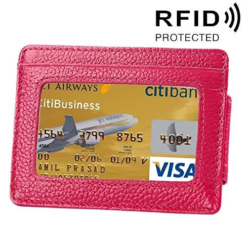 XIANRUI Rundlederen Lame Kleurkaarthouder Portemonnee RFID-blokkeerkaarthouder Beschermhoesje met 3 kaartsleuven en fotolijst, Afmetingen: 110 * 77 * 4mm