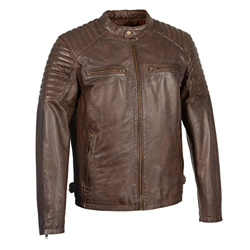 Milwaukee Leather SFM1840 Men's 'Quilted' Brown Leather Jacket with Snap Button Collar - 2X-Large