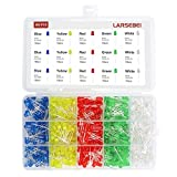 500pcs LED Diode Lights, LARSEBEI 5 Colors 5mm Light Emitting Diodes LED Assortment Kit Electronic Components, Diffused Round Light Bulb for Arduino/Experience, White Red Yellow Green Blue DIY set box