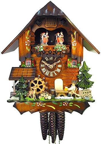 orig. Reloj De Cuco Negro de bosques. (Certificado), de 1de día de, Mecánico. Hogar, 31cm, Música, danza figuras, cerveza bebedores y mühl Rueda, bosque negro