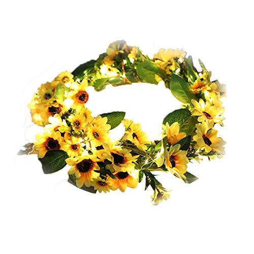Hjinyu Guirnaldas de Luces Circulares de Ratán Tejidas a Mano, Luces de Cadena de Flores Decorativo, Planta Artificial, Decoración del Hogar, Funciona con 3 Pilas AA (no incluidas), 100 LED