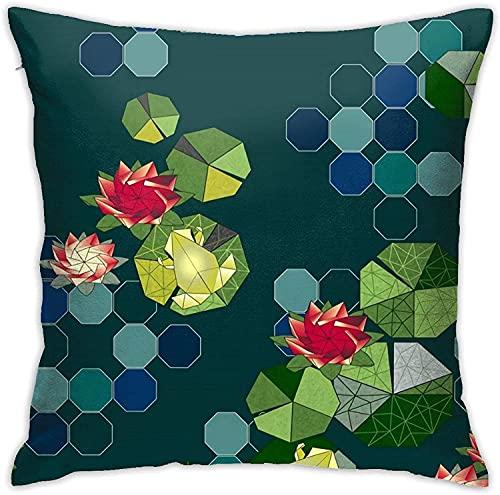 Kissenbezug, Lotus Pond Origami Throw Kissenbezug Moderne Kissenbezug Quadratische Kissenbezug Dekoration für Schlafsofa Stuhl Auto 18 * 18 Zoll