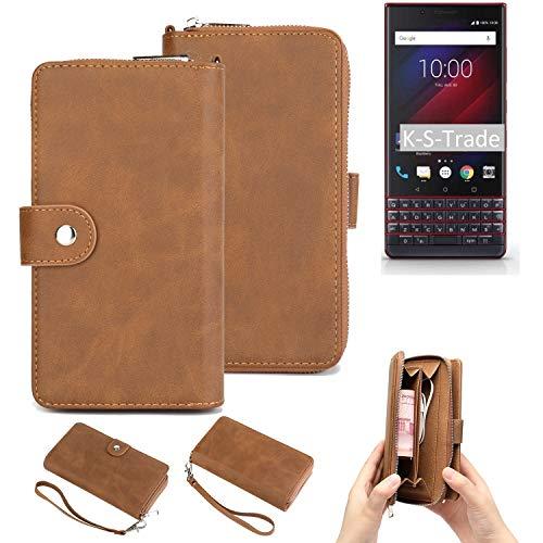 K-S-Trade 2in1 Handyhülle Kompatibel Mit BlackBerry Key 2 LE Dual-SIM Schutzhülle und Portemonnee Schutzhülle Tasche Handytasche Hülle Etui Geldbörse Wallet Bookstyle Hülle Braun (1x)