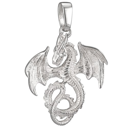 Vinani Anhänger Drache groß glänzend Sterling Silber 925 ADG-EZ