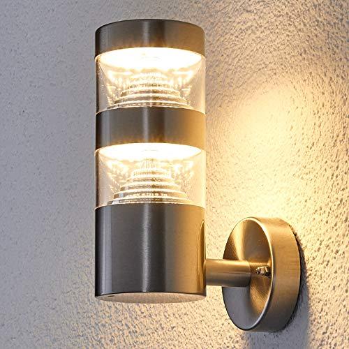 Lindby LED Wandleuchte außen 'Lanea' (spritzwassergeschützt) (Modern) in Alu aus Edelstahl (1 flammig, A+, inkl. Leuchtmittel) - LED-Außenwandleuchten Wandlampe, Led Außenlampe, Outdoor Wandlampe für