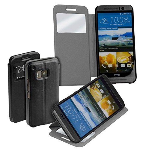 yayago Book Style Tasche für HTC One M9 / HTC One M9 Prime Camera Edition Hülle mit Sichtfenster Schwarz