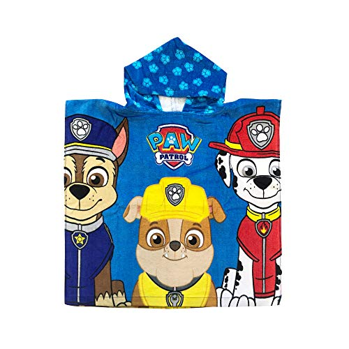 Paw Patrol Chase, Rubble and Marshall Blue Hood with Dog Prints Poncho Hooded Towel