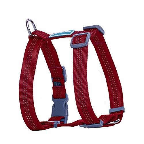 ThinkPet Reflective Adjustable Comfort Nylon Dog Halter Harness, Easy On and Off, No Choke Dog Walking Harness L Red