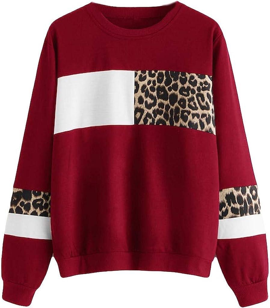 F_Gotal Sweatshirts for Women Long Popular brand Superlatite in the world Colorblock Gra Leopard Sleeve