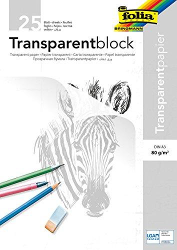 Rayher Hobby 8147900 Transparentpapier, A3, Block 25 Blatt, 80 g/m2