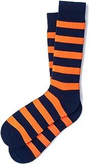 Men's Designer Collegiate College Rugby Striped Stripe Crew Dress Socks