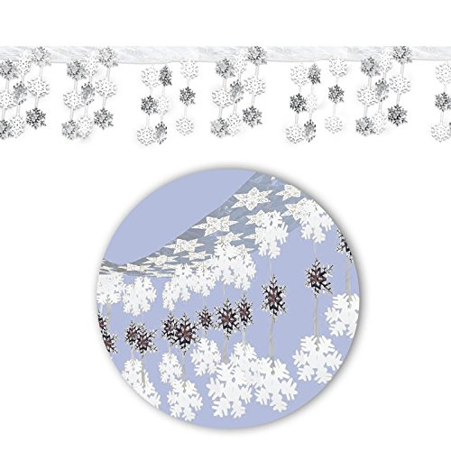 30,4 cm x 3 m bevroren sneeuwvlok Kerstmis Wonderland Ophangfolie plafond opknoping Decoratie Laat het Sneeuw Wit Zilver Sneeuw Flake