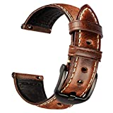 KAYSEUN Watch Band Compatible With Samsung Watch, Huawei Watch, Fossil Q Series - Quick Release Strap 18mm 20mm 22mm - Men's Retro Leather Watch Strap Bands (Coffee Brown, 20mm)