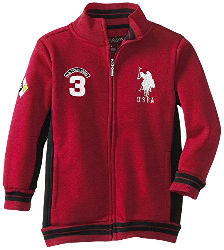 U.S. Polo Assn. Little Boy's Fleece Mock Neck Jacket with Striped Ribbing, Engine Red, 5/6