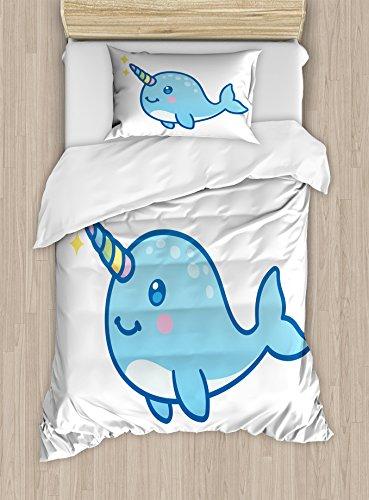 Ambesonne Narwhal Duvet Cover Set, Cartoon Drawing Style Whale with Rainbow Horn Unicorn of The Ocean Arctic Animal, Decorative 2 Piece Bedding Set with 1 Pillow Sham, Twin Size, Pastel Blue