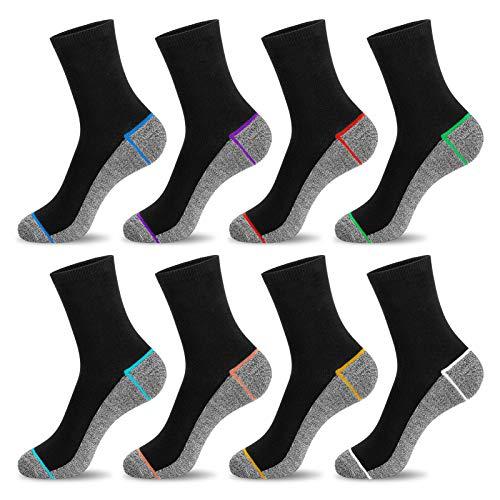 Newdora Socken Herren, 8 Paar Sneaker Socken Unisex Atmungsaktiv Baumwoll Socken für Sport Freizeit Lauf Outdoor Business Arbeits