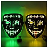 Halloween Scary Mask LED Mask LED Purge Mask [2PACK] LED Light Up Mask EL Wire Light Up for Festival Cosplay Halloween Costume Halloween Festival Party.