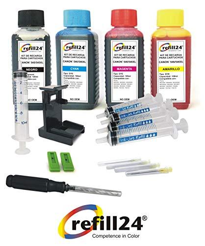 Kit de Recarga para Cartuchos de Tinta Canon 545, 546, 545 XL, 546 XL Negro y Color, Incluye Clip y Accesorios + 400 ML Tinta