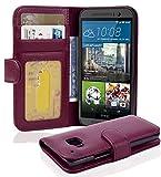 Cadorabo Hülle für HTC ONE (M9) - Hülle in Bordeaux LILA – Handyhülle mit 3 Kartenfächern - Hülle Cover Schutzhülle Etui Tasche Book Klapp Style