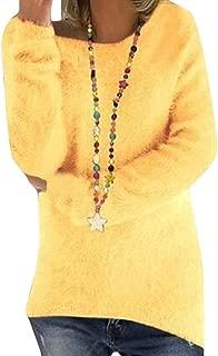 Women's Sherpa Pullover Solid Crewneck Fluffy Fleece Sweater Blouse