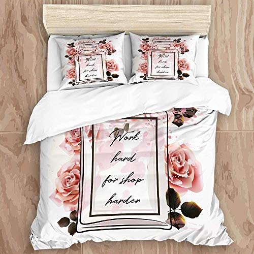 DK Star Bedding Juego de Funda de Edredón - Hermosa Botella de Vidrio de Perfume Rosa de Moda y Rosas en Estilo Acuarela - Microfibra Funda de Nórdico y Fundas de Almohada - (Cama 220 x 240cm)