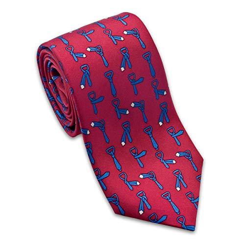 Josh Bach Herren Krawatte mit Anleitung zum Binden einer Krawatte, Seide, Rot, hergestellt in den USA