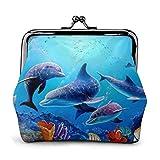 Acuario Dolphin Fish and Seaweed Blue Sea Cartera S para Mujer Monederos con Hebilla Monedero Ligero con Cierre de Beso Monedero Lindo Mini Bolsa para Llaves para Maquillaje de Viaje