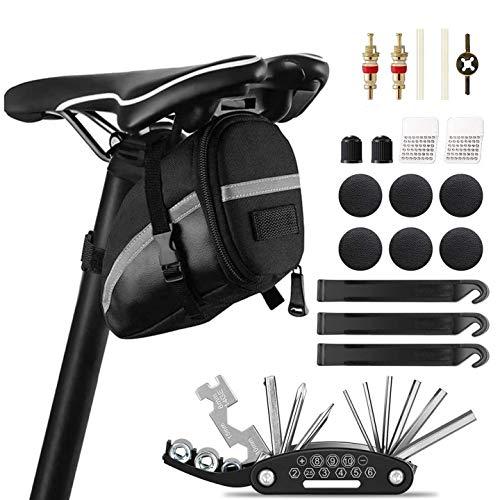 KIPIDA Fahrrad Multitools, 16-in-1 Fahrrad Reparatur Werkzeug Set, Praktisches Fahrrad Werkzeug Reparatur Set, Multifunktionswerkzeug mit Satteltasche Set für Mountainbikes/Rennwagen/Andere Fahrräder