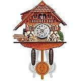 Jaxonn Home Mini-Kuckucksuhr, Schwarzwaldhaus mit beweglichem Holzhacker und Mühlrad (Color : A)