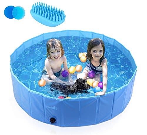 Pecute Hundepool Schwimmbad Für Hunde und Katzen Swimmingpool Hund Planschbecken Hundebadewanne Faltbarer Pool Für Kinder Den Hund Katze Geschenk - Haustier Badebürste,S (80 * 20cm)