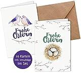 10 Karten & 10 Umschläge: Moderne, schlichte Osterkarten Klappkarten im Set, DIN A6, matter Natur-Karton mit Blanko-Innenseiten für Ostergrüße an Familie, Freunde, Kunden