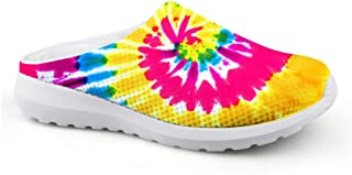 AXGM Men's Slippers Mesh Clog Mules Beach Shoes Colourful Rainbow Swirl Circle Printed Trend Slippers Unisex Flat Shoes Sl...