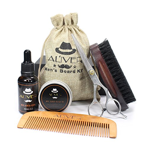 Beard Brush Comb Set for Men, Beard Grooming & Trimming Kit Contains Beard Oil, Leave-in Conditioner, Mustache & Beard Balm Butter Wax, Beard Brush, Beard Comb, Sharp Scissors Gift Set