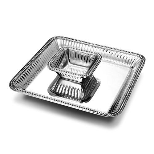 Wilton Armetale flûtes et perles 2 pièces carré large Chip and Dip Set de présentation, 38,1 cm