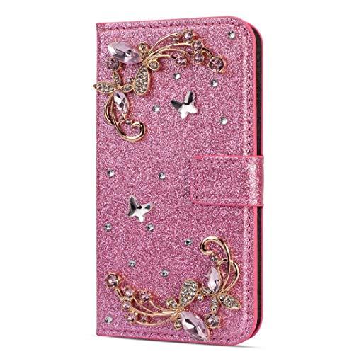 Funda para Samsung Galaxy A03S de piel brillante con cierre de diamantes y hebilla de TPU a prueba de golpes para Samsung Galaxy A03S con soporte magnético para tarjetas, color rosa