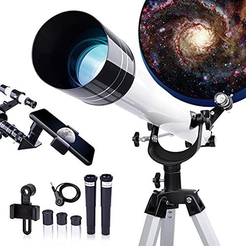 Telescopio per Bambini Principianti Adulti, 45X-675X Telescopio Rifrattore 900MM per l'Astronomia HD, con Treppiede, Adattatore Telefonico, Perfetto per i Bambini Figli Adolescenti Bianca