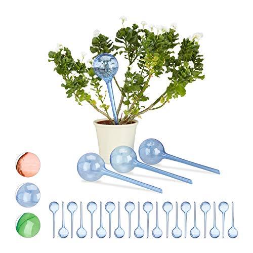 Relaxdays 24 x Bewässerungskugeln im Set, Dosierte Bewässerung, 2 Wochen, Versenkbar, Deko, Topfpflanzen, Kunststoff, blau