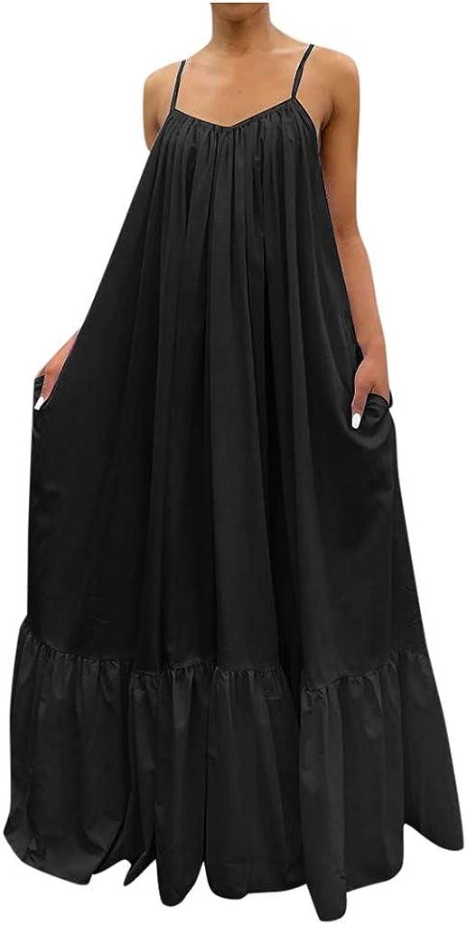 TAYBAGH Summer Dresses for Women,Womens Beach Casual V Neck Spaghetti Strap Sleeveless Maxi Long Dress Loose Sun Dresses