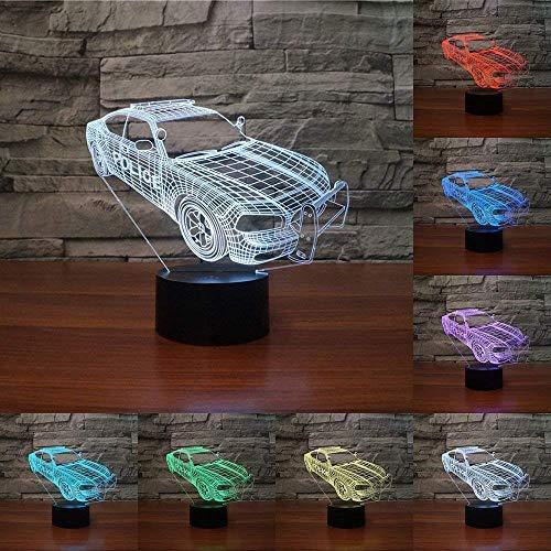 DCLINA 3D Police Car Night Light 7 Colores Que cambian USB Power Touch Switch Decoración Lámpara Lámpara ilusión óptica Lámpara Escritorio Mesa LED Niños Niños Regalo cumpleaños Navidad