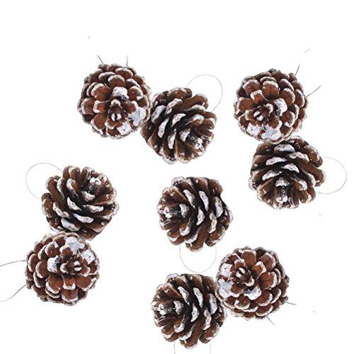 Tinksky I coni del pino di natale di 9pcs con l'artigianato della decorazione dell'albero di Natale di Pinecone di legno della stringa per l'ornamento domestico