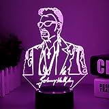 Luz nocturna Led única Waylon Jennings figura luz nocturna ventiladores adultos decoración de...