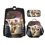 Mochila escolar de invasión de ancho completo, juego de 3 piezas, bolsa escolar + estuche + bolsa de almuerzo combinación 3D, lona viaje camping mochila juvenil