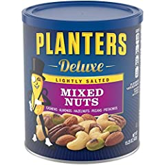 LIGHTLY SALTED MIXED NUTS: PLANTERS Lightly Salted Mixed Nuts are a flavorful blend of premium whole nuts with reduced sodium—contains cashews, almonds, hazelnuts, pecans and pistachios PLANTERS NUTS: This 15.25 ounce resealable canister of PLANTERS ...