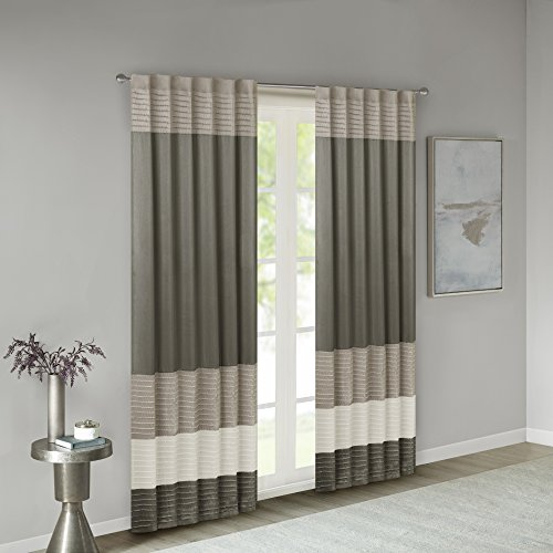 Madison Park Amherst Faux Silk Rod Pocket Curtain With Privacy Lining for Living Room, Window Drapes for Bedroom and Dorm, 50x84, Natural