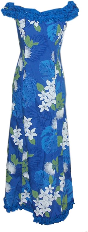 Jade Fashions Inc. Hawaiian Women Long Ruffle Dance Lehua Plumeria Flower Maui Dress